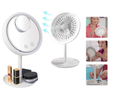 Oglinda cosmetica cu led si ventilatie si mini oglinda zoom x 5