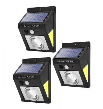 Set 3 Lampi solare 32 LED, rezistente la apa, lumina alba-rece