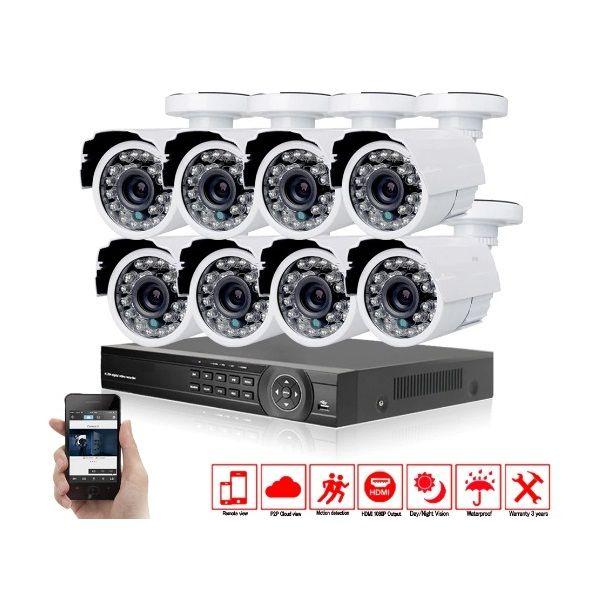 Set 8 Camere supraveghere wireless metalice AHD CCTV HD, DVR inclus, pentru exterior