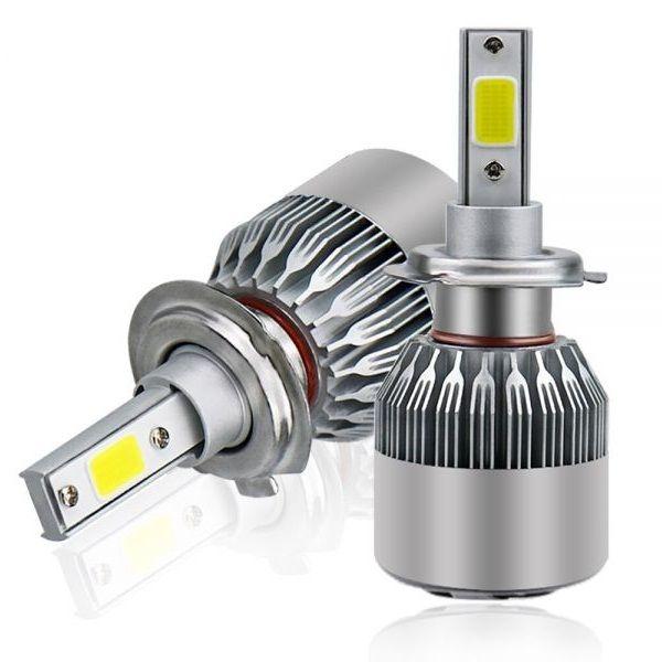 Set 2 becuri LED auto C6 H4 cu 2 faze