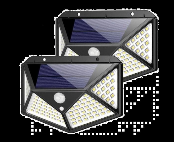Set 2 Lampi solare cu 100 LED 2200 mAh, senzor de miscare, rezistente la apa