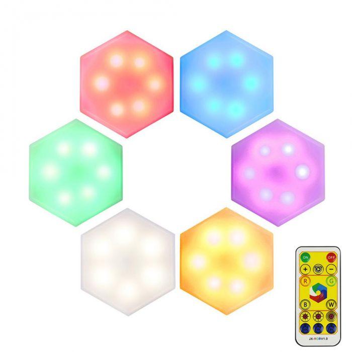 Set 6 Lampi modulare Hexagon 15 culori RGB, telecomanda, senzor tactil