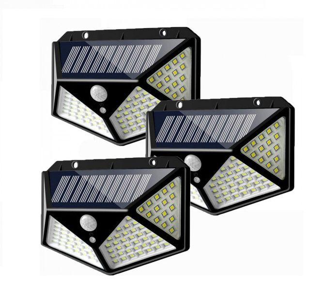 Set 3 Lampi solare cu 100 LED 2200 mAh, senzor de miscare, rezistente la apa