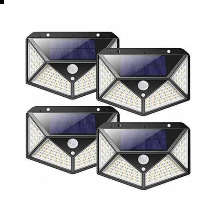 Set 4 Lampi solare cu 100 LED 2200 mAh, senzor de miscare, rezistente la apa