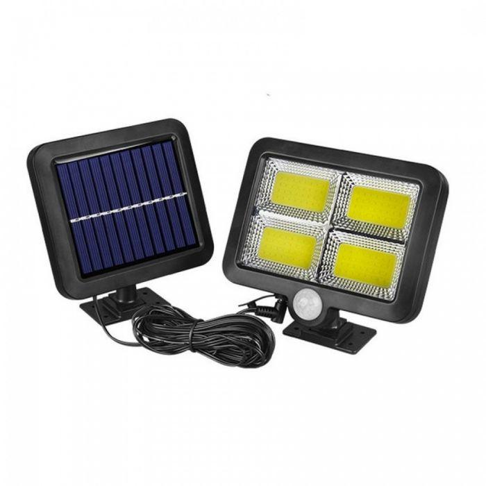 Proiector LED cu panou solar, senzor de miscare, 144 LED