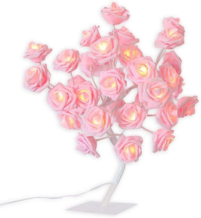 Mini Copac Trandafir cu 24 LED, roz