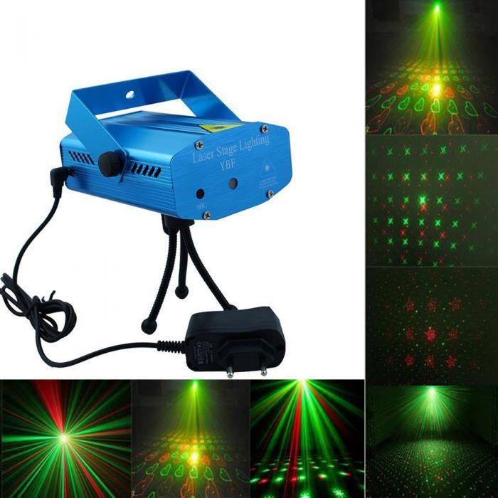 Mini proiector laser cu 5 proiectii rosu-verde, senzor de muzica