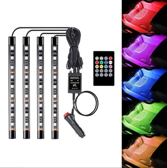 Set 4 Benzi LED Auto RGB cu telecomanda Atmosphere Lights