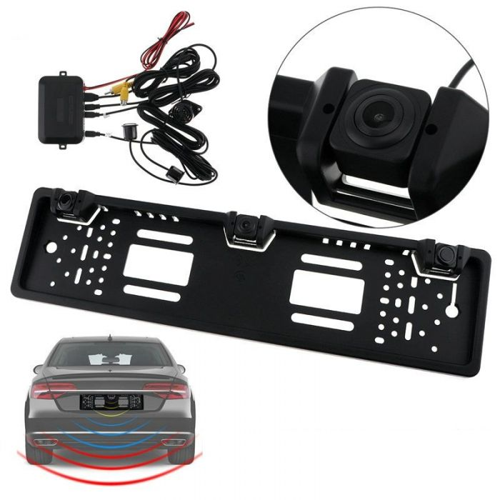 Suport numar inmatriculare cu camera video marsarier si senzori parcare