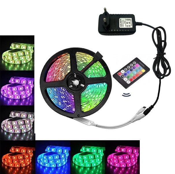 Banda LED RGB cu telecomanda, 7 culori, 5 metri