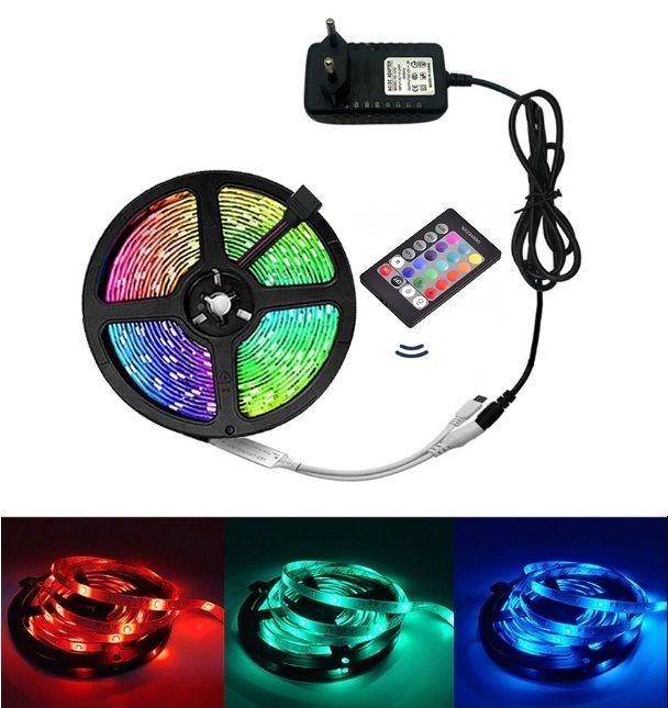 Banda LED RGB cu telecomanda, 3 culori, 5 metri