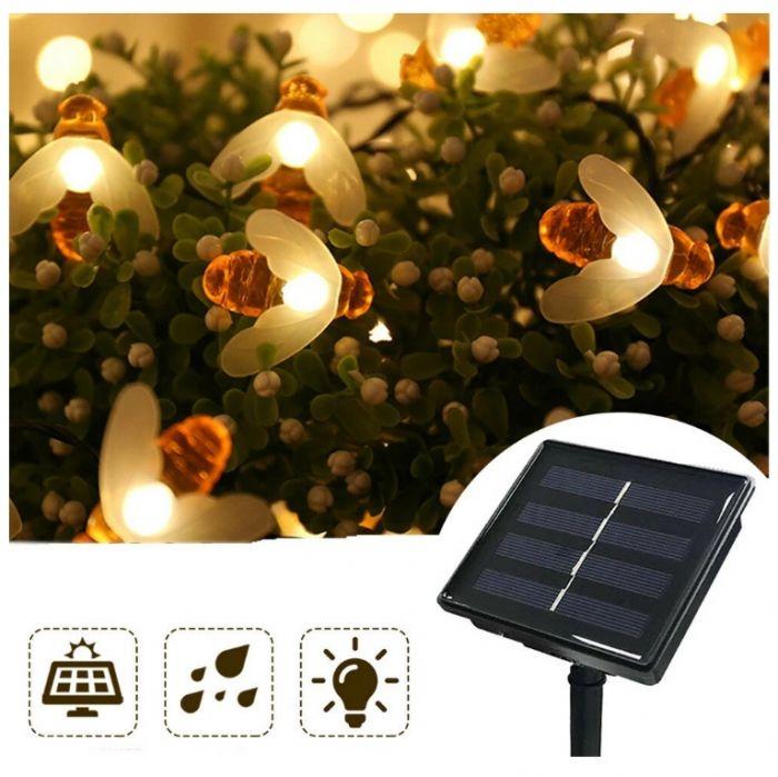 Instalatie solara cu 30 Albinute LED, interior-exterior, senzor miscare