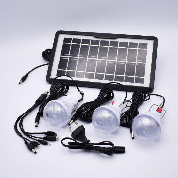Kit Lanterna cu Panou Solar, 3 becuri si functie de incarcare telefon