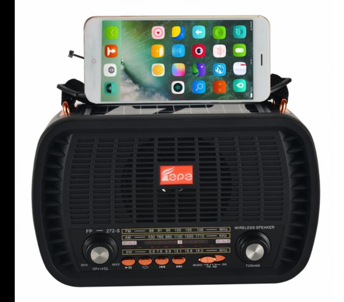 Boxa Solara, portabila cu radio si suport de telefon, FP-272-S