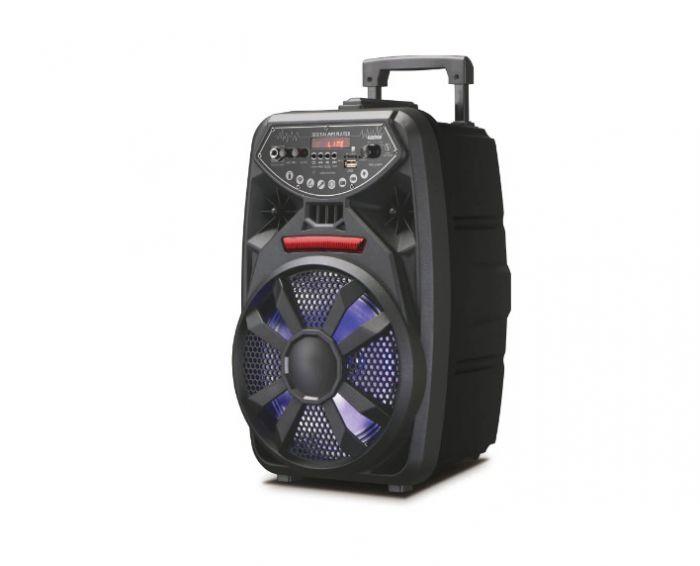 Boxa portabila tip troller, Lumini LED, Microfon Inclus, Telecomanda, LT-090