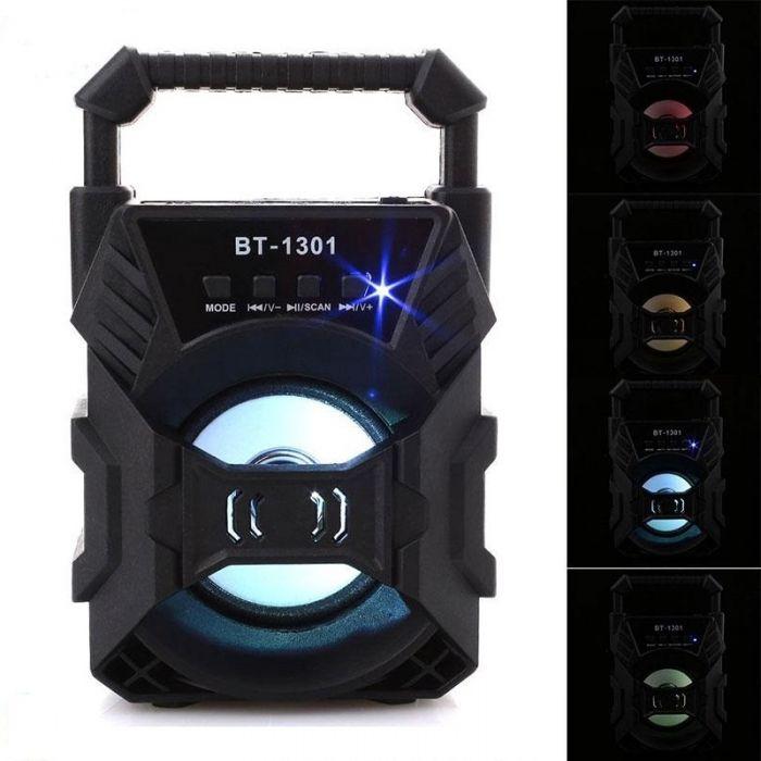 Boxa bluetooth portabila 1301 cu lumini multicolore, USB, microSD, radio FM, AUX