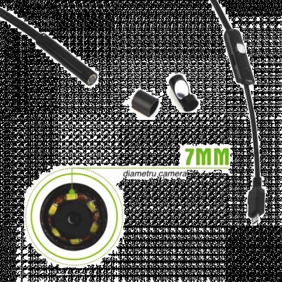 Camera endoscop foto-video LED pentru telefon Android sau PC, 5m