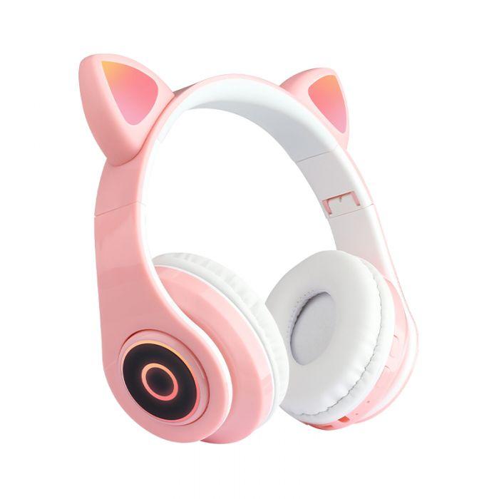 Casti Wireless Bluetooth cu LED RGB si urechi de pisicuta, pliabile, microfon incorporat