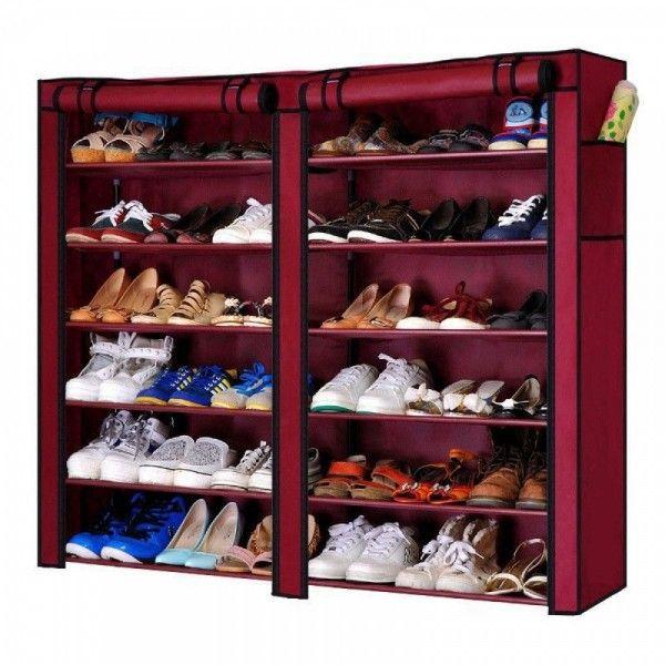 Dulap de pantofi textil dublu, 12 rafturi