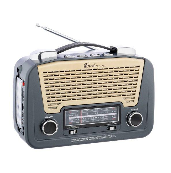 Radio AM, FM, SW1/2, MP3 player cu lanterna,  FP-1502U