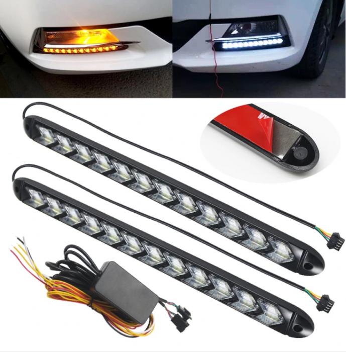 Set Lumini Led Drl, cu semnalizare dinamica, secventiala, 12 module