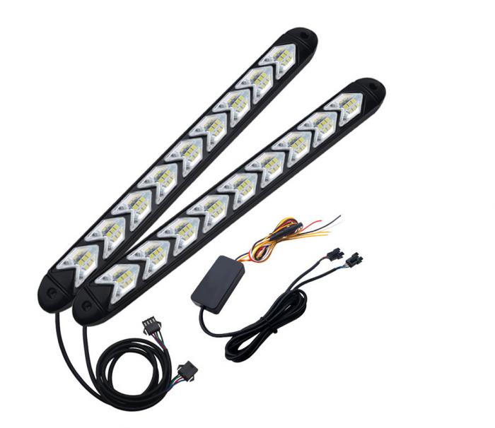 Set Lumini Led Drl, cu semnalizare dinamica, secventiala, stil sageata, 9 module