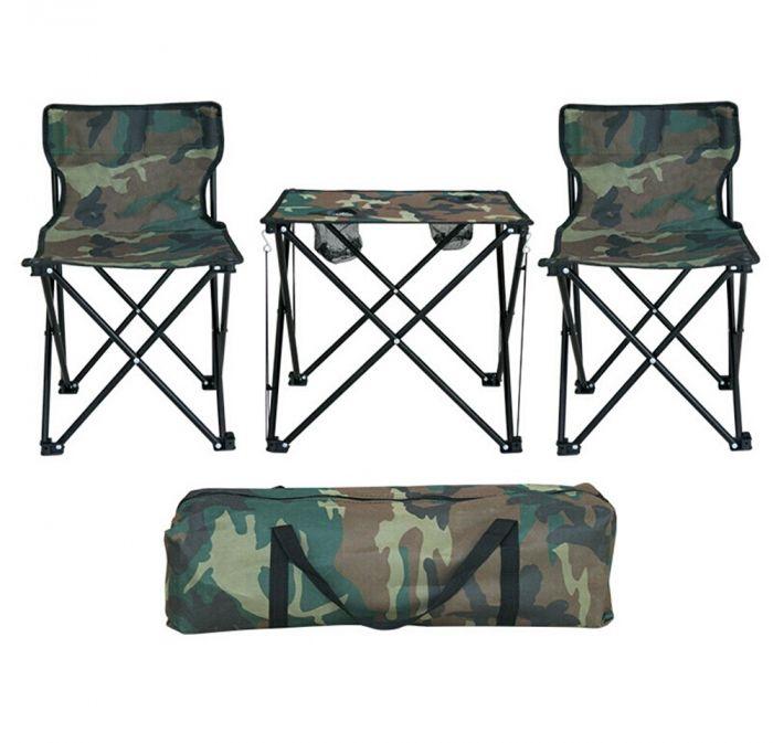 Masa de camping cu 2 scaune, imprimeu camuflaj