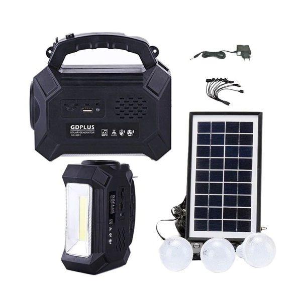 Kit solar GD8161 cu lanterna LED, radio FM, 3 becuri, panou si USb pentru incarcare telefon