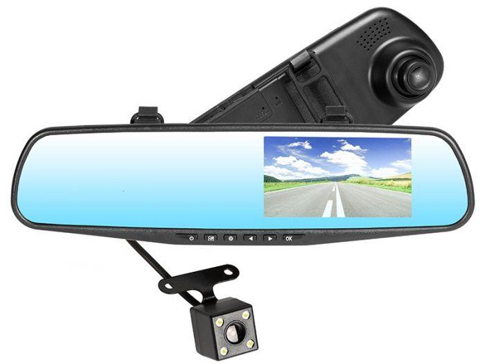 Oglinda retrovizoare cu display 3.5 inch si camera fata-spate