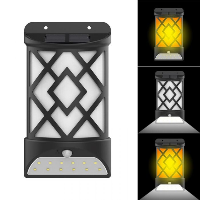 Lampa solara cu efect flacara si 12 LED, senzor lumina si senzor miscare
