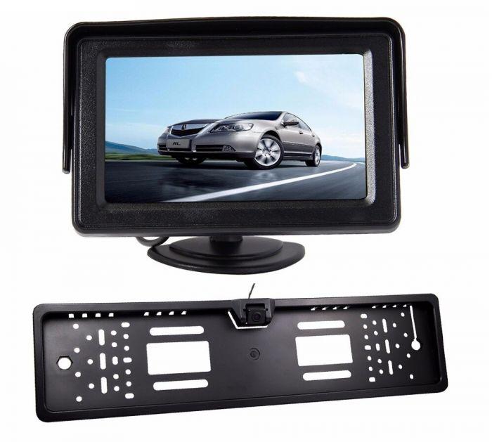 Suport numar de inmatriculare cu camera video marsarier si monitor