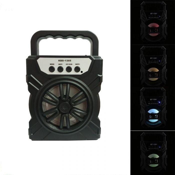 Boxa bluetooth portabila 1305 cu lumini multicolore, USB, microSD, radio FM, AUX