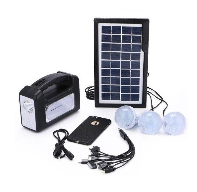 Kit solar GD-7 plus cu lanterna LED, 3 becuri, panou si USB pentru incarcare telefon