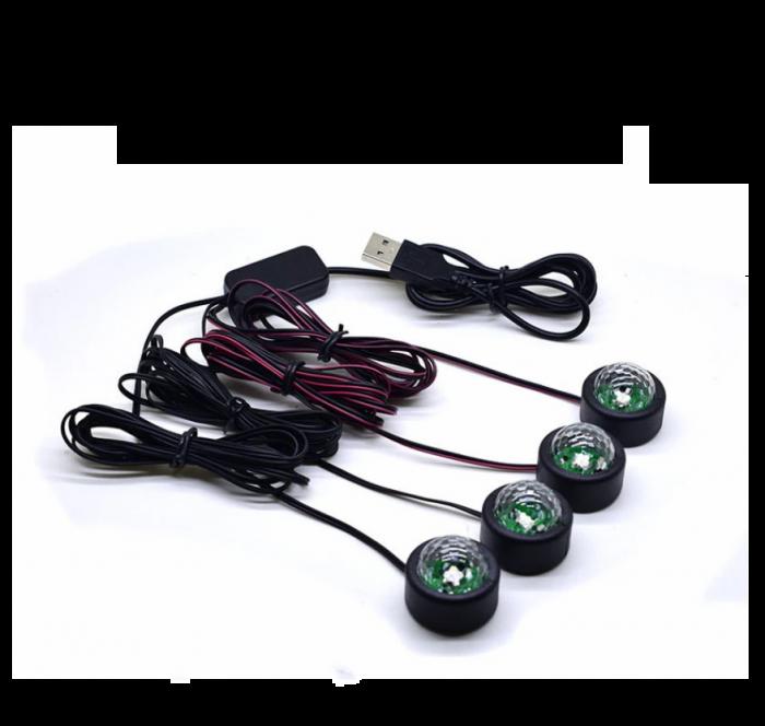 Set 4 lumini auto interior A10 USB LED RGB