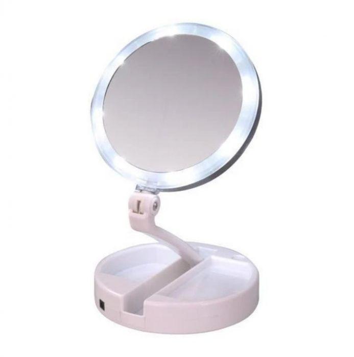 Oglinda pliabila cu 2 fete, marire 10x, lumina