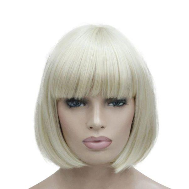 Peruca tunsoare bob, par blond, rezistenta la coafat
