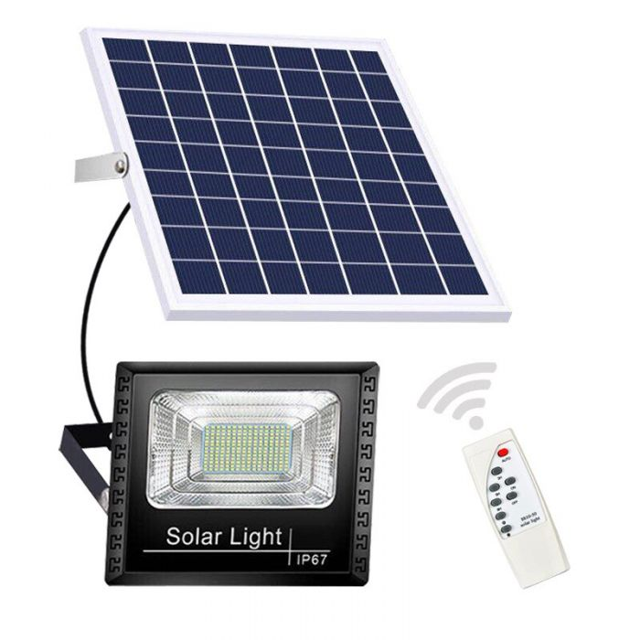 Proiector Solar 300W, 125 LED, cu panou solar si telecomanda