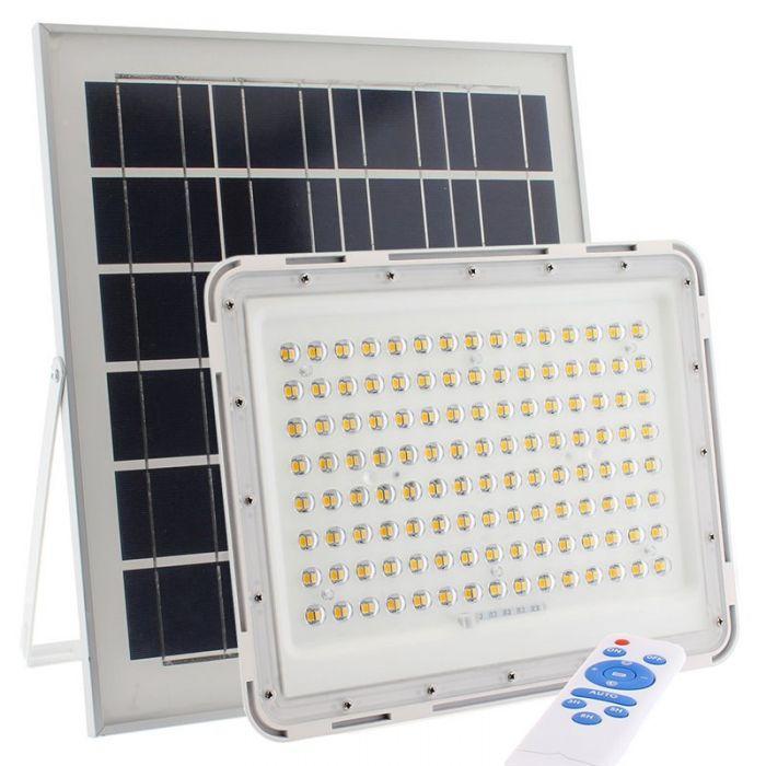 Proiector 100W, 104 LED cu Panou Solar si Telecomanda