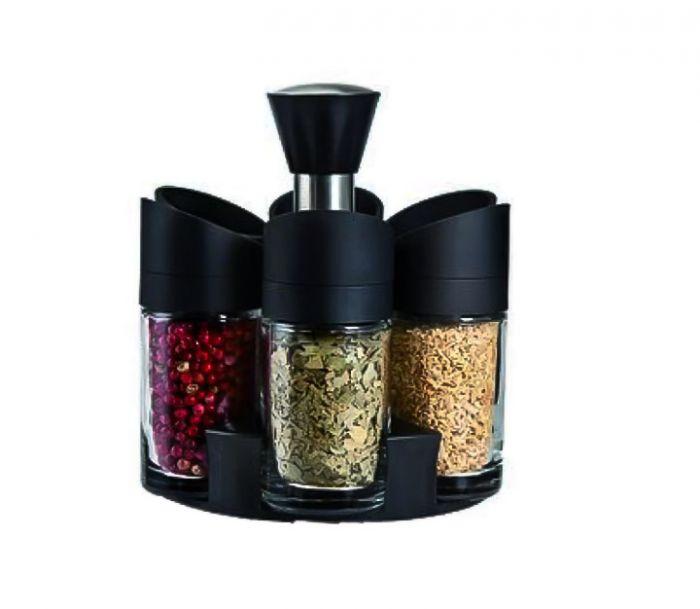 Set 6 recipiente condimente, suport rotativ, usor de organizat
