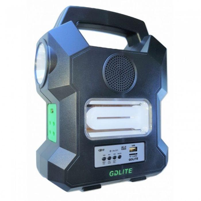 Kit solar GD1000A cu lanterna LED, 3 becuri, panou si USB pentru incarcare telefon