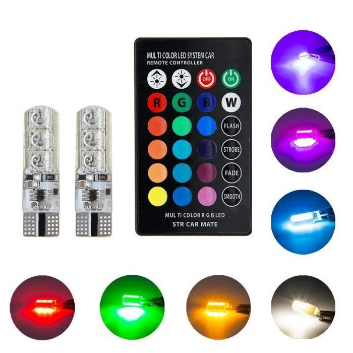 Set 2 Becuri Auto LED RGB Cu Telecomanda