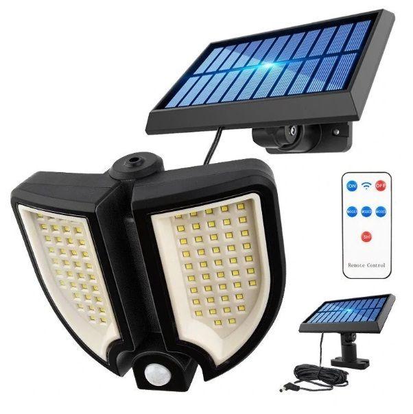 Lampa solara dubla 90 LED, senzor de miscare, 3 faze lumina, telecomanda