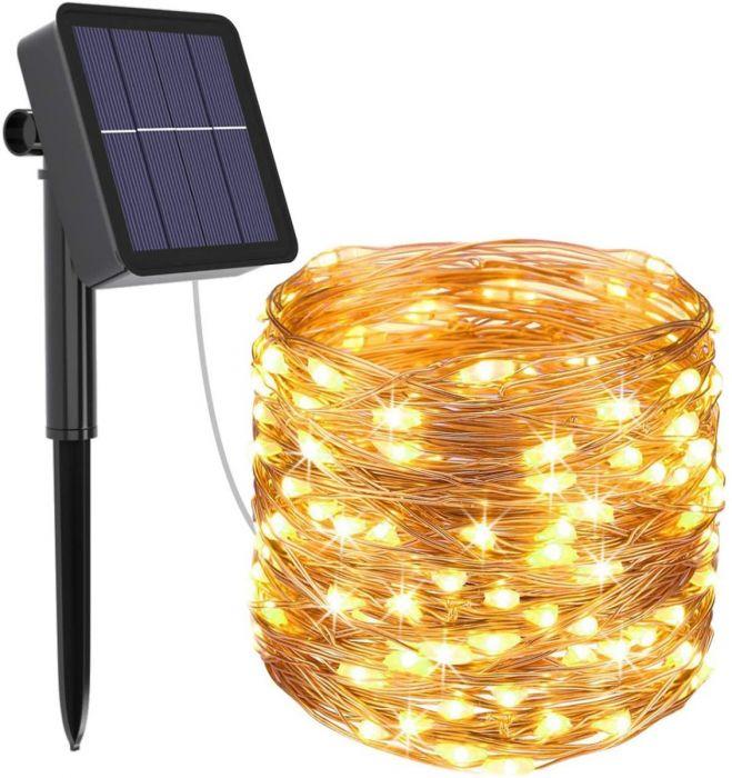 Instalatie solara cu 120 LED, interior-exterior, 14 m, lumina calda