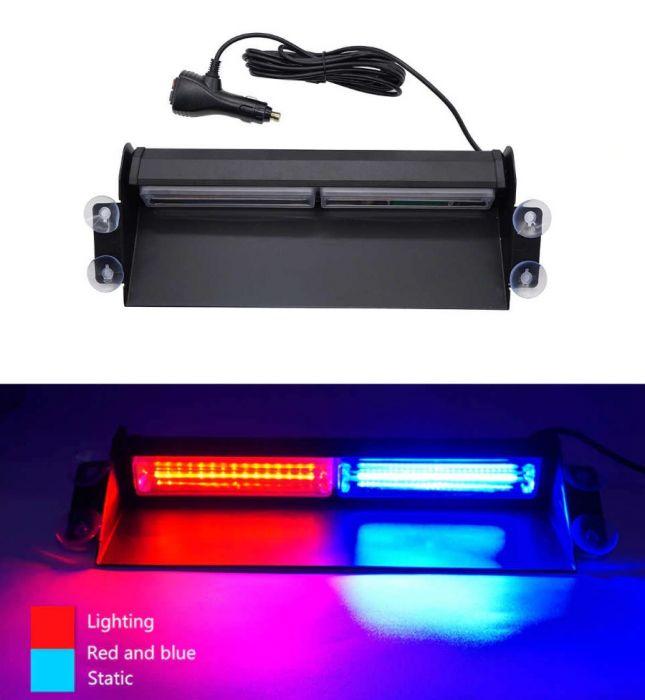 Stroboscop LED auto COB pentru parbriz, rosu-albastru