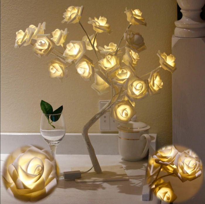 Mini Copac Trandafir cu 24 LED, galben