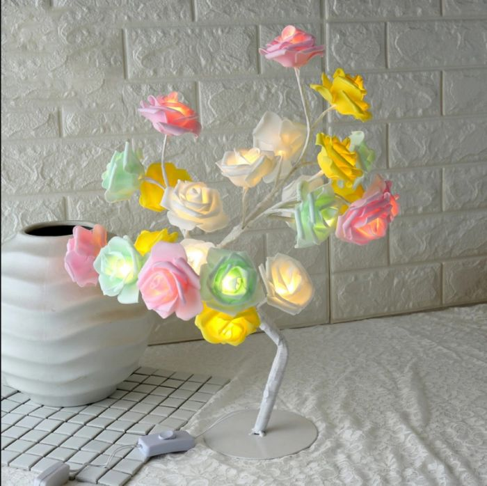 Mini Copac Trandafir cu 24 LED, multicolor
