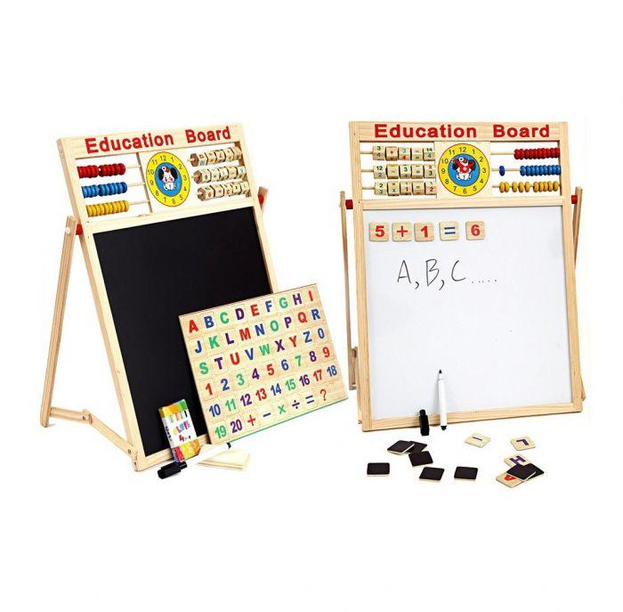 Tabla educativa cu 2 fete, pentru scris, desenat litere magnetice si cifre