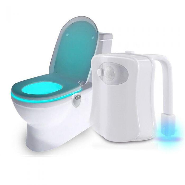 Lampa LED RGB pentru WC cu 8 culori si senzor