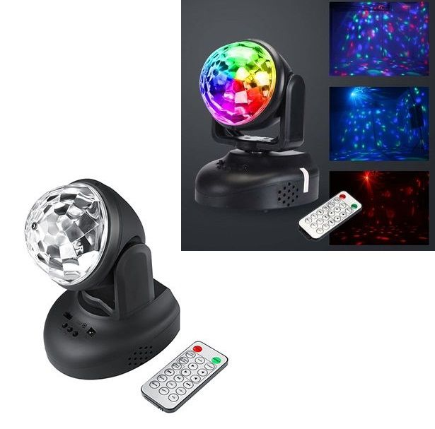 Proiector rotativ LED disco RGB, telecomanda, MP3, USB